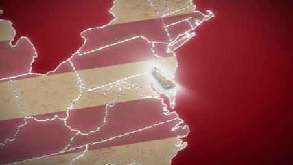 USA map, Delaware pull out, all states available. Red