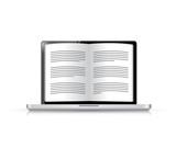 ebook on a laptop screen. illustration design