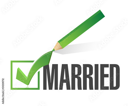 selected married with check mark. illustration