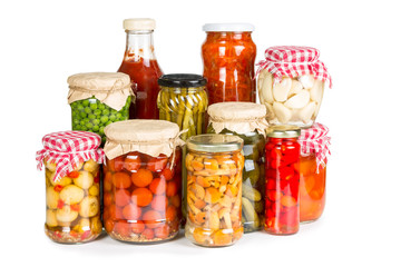 Marinated vegetables in glass jars