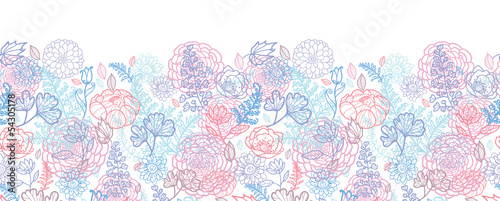 Vector morning colors floral line art horizontal seamless