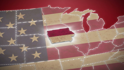 USA map, Iowa pull out, all states available. Red