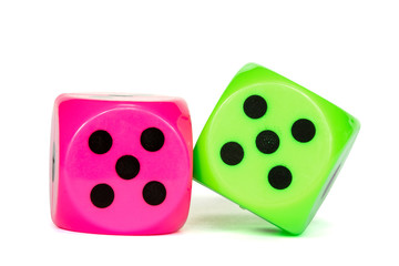 Pink and green dices