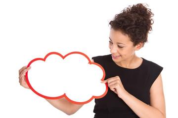 Frau isoliert mit einem Werbeschild in der Hand