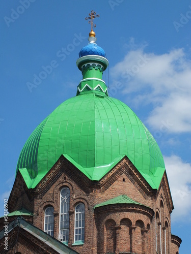 Green dome of orthodox church (Riga, Latvia)