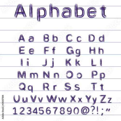 hand-drawing alphabet - vector illustration