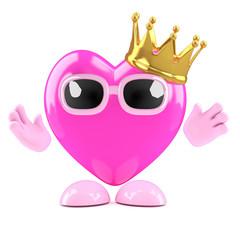 3d Heart wears a golden crown