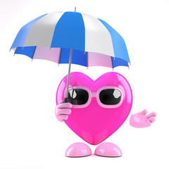 3d Heart has an umbrella