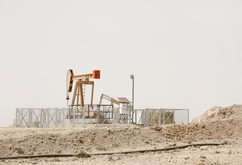 Oil pumps in a oil well at Bahrain