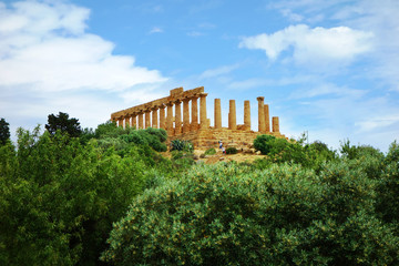Ancient temple in the valley of the temples in Agrigento