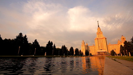 morning Moscow State University fountain slider