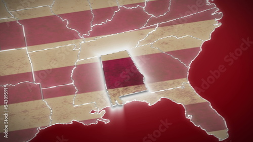 USA map, Alabama pull out, all states available. Red