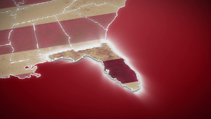 USA map, Florida pull out, all states available. Red