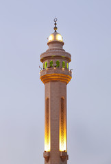 Minarets of Al Fateh Mosque of Bahrain in evening time