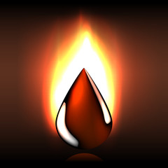 Raw oil flaming drop