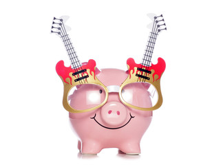 piggy bank wearing guitar glasses