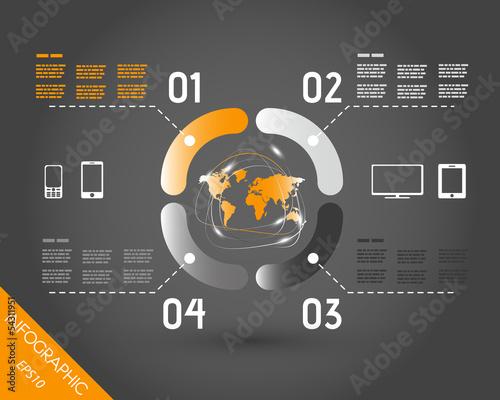 orangedark orange world infpgraphic elements in ring