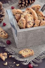 Cranberry biscotti in wooden box