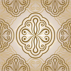 Seamless floral vector beige ornament.