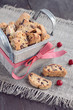 Cranberry biscotti in wooden box