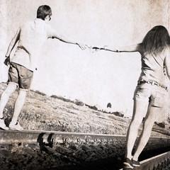 artwork in retro style, couple