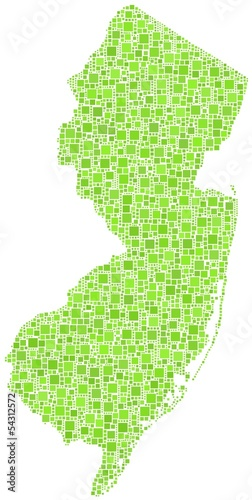 Map of New Jersey - USA - in a mosaic of green squares