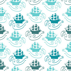 Seamless pattern with ships in the sea