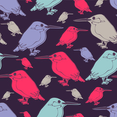 Seamless pattern with cute kingfishers