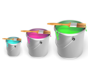 Buckets of paint of different colors
