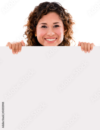 Happy woman holding banner