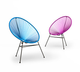 Isolated chic modern coloured outdoor lounge chairs