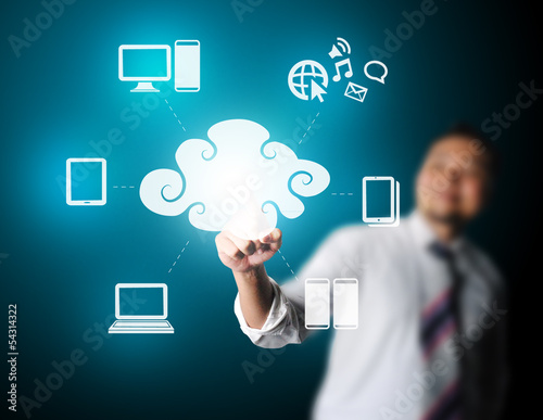 Business man touching technology of cloud computing