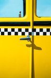 Vintage yellow taxi door panel