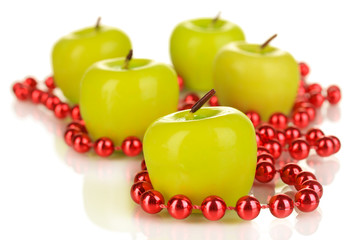 Aroma apple candles with beads close up