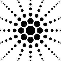 seamless black polka flower abstract pattern vector