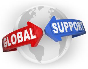 Global Support Arrows Around World International Aid