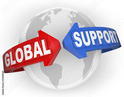 Global Support Arrows Around World International Aid