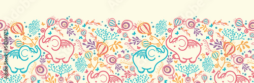 Vector Elephants With Flowers Horizontal Seamless Pattern