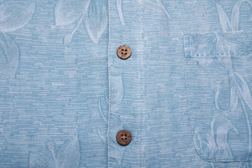 Shirt Background Hawaiian Blue with Buttons
