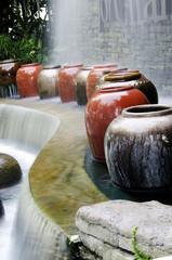 Garden water geysers in the park.