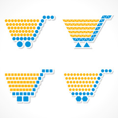 Vector Shopping Cart Icon Set with different shapes