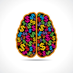Conceptual idea: silhouette image of brain with dollar symbol