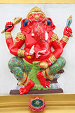 Red Statue Ganesh in temple.