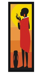 Masai woman standing against the sunset-vector illustration