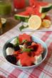 Салат из арбуза, ежевики и фета