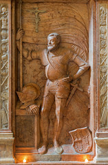 Vienna -  Relief of knight from tomb in Michaelerkirche