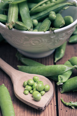 Pea pods in a bowl with spoon