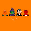Halloween Pumpkin, Witch, Vampire & Devil Orange