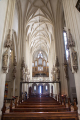 Vienna - Choir and nave in gothic church Maria am Gestade