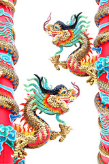 Two Dragon statues in Chinese temple.